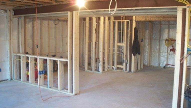 Framing Around Supports And The Start Of A Half Wall
