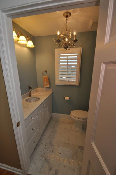 Check Out The Chandelier In This Powder Room Too What A Great New E