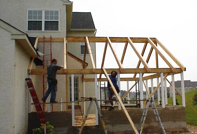 Framing Out The New Screened Patio