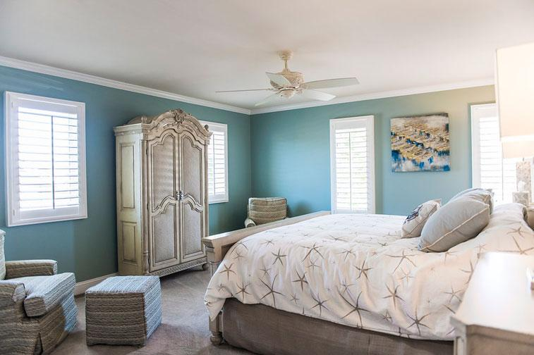 A view of this bright and airy master bedroom from the hallway and office Hallway to master bedroom