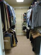 New walk in closet and shelving built and installed by Drumm Design Remodel