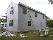 Siding and soffit work on exterior