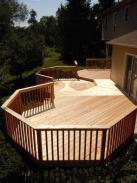 Angled boards on this section of the deck make for an artistic statement