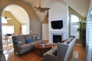 The fireplace transformed by Drumm Design Remodel