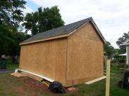 The shed sheathed in and ready for siding