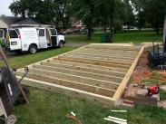 The floor being framed out...getting ready for walls