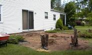Clearing the yard of bushes, trees and stumps prior to excavation for the new family room addition